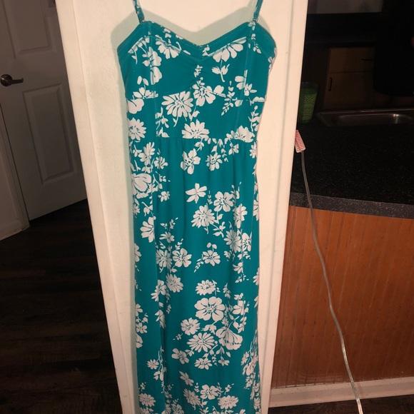 Aeropostale Dresses & Skirts - Floral Blue/ Green Maxi